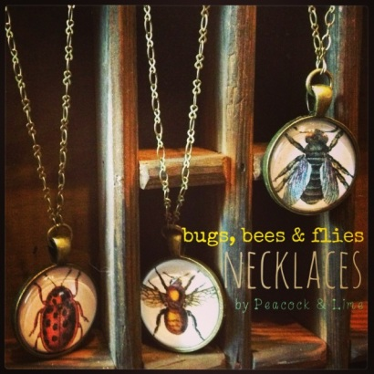 bugs bees and flies necklaces