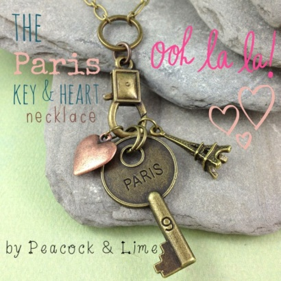 paris key & heart necklace