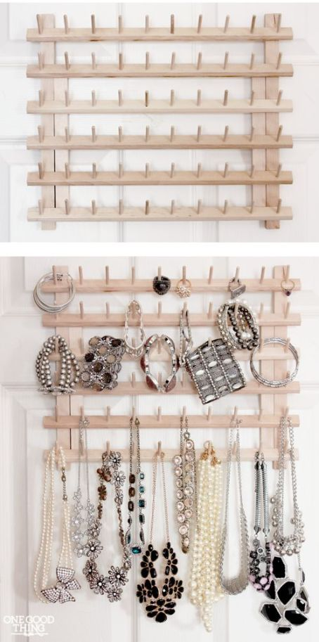 thread spool jewelry organizer