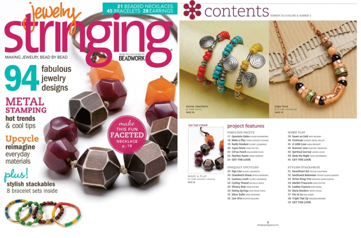 jewelry stringing - summer 2014 cover & contents page