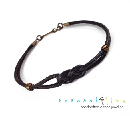 Simple black leather knotted bracelet by Peacock & Lime