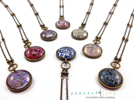 New Cosmic Galaxy necklaces by Peacock & Lime