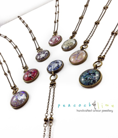 cosmic galaxy necklaces by Peacock and Lime
