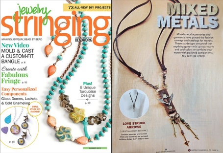 Love Struck Arrows necklace by Peacock & Lime - featured in the summer 2015 issue of Jewelry Stringing magazine