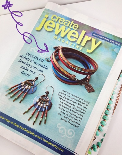 Jewelry Stringing Summer 2015 also featured an ad for Create Jewelry magazine (coming out in July) highlighting Peacock & Lime's Free Spirit leather wrap bracelets :)