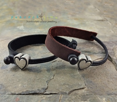 leather-and-pewter-heart-bracelets---by peacock and lime