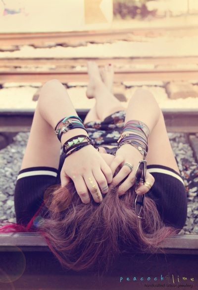 wrap bracelets-&-train-tracks-by-peacock&lime