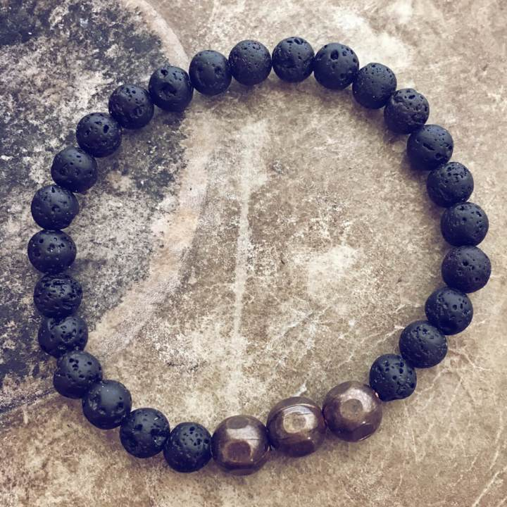 grounded mens lava and natural brass bead mala bracelet by peacock & lime