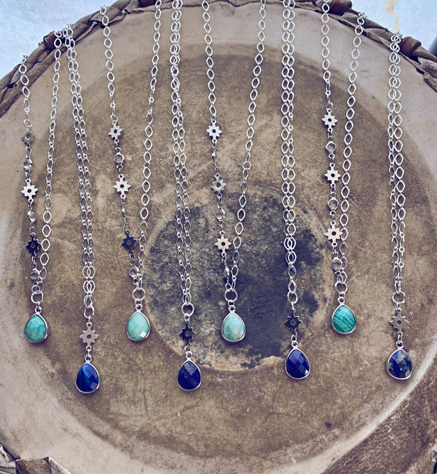 amazonite and lapis teardrop necklaces by peacock and lime