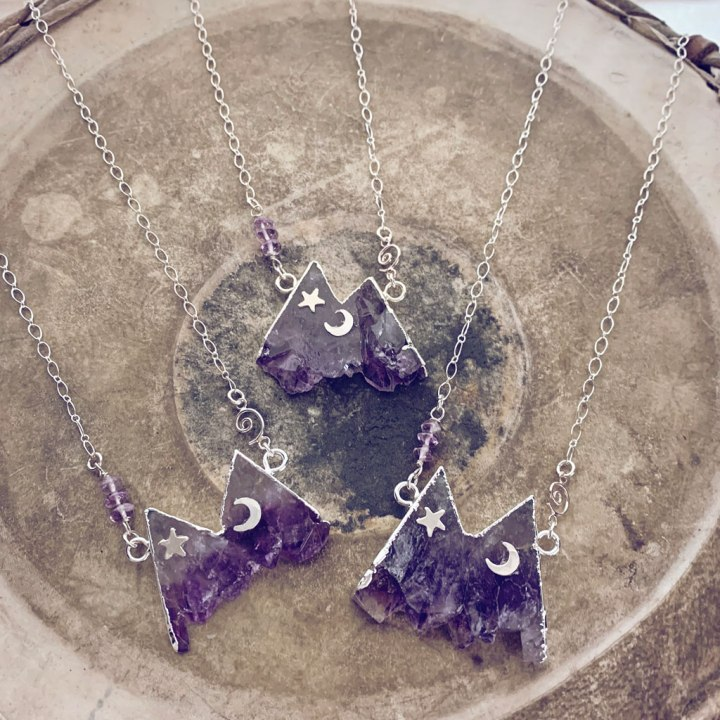 amethyst mountain moon and star necklaces by peacock and lime