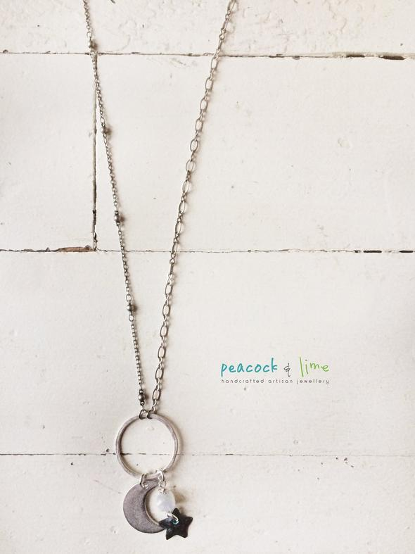 moonstone, star & crescent moon pendant necklace by peacock & lime