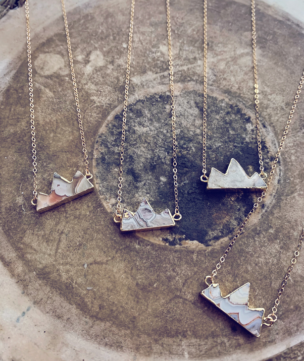 mountain peaks gold electroplated agate gemstone necklaces by peacock & lime